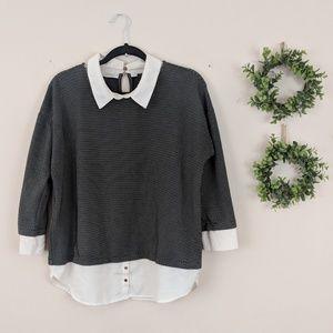 Ann Taylor Black & Cream Sweater Blouse